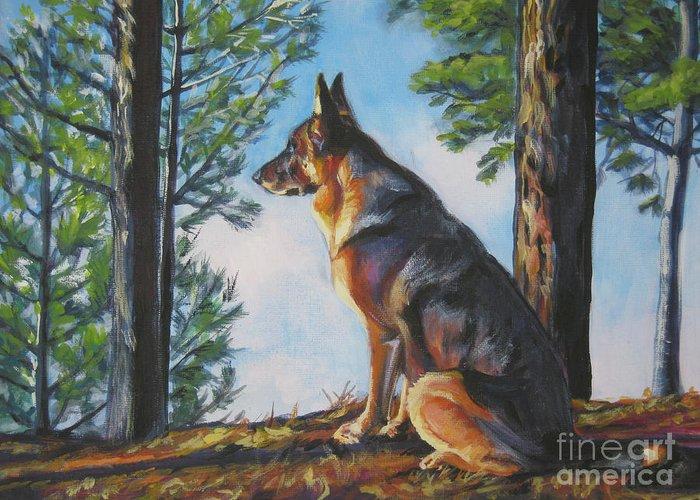 German Shepherd Greeting Card featuring the painting German Shepherd Lookout by Lee Ann Shepard