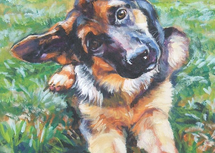 Dog Greeting Card featuring the painting German Shepherd Pup With Ball by Lee Ann Shepard