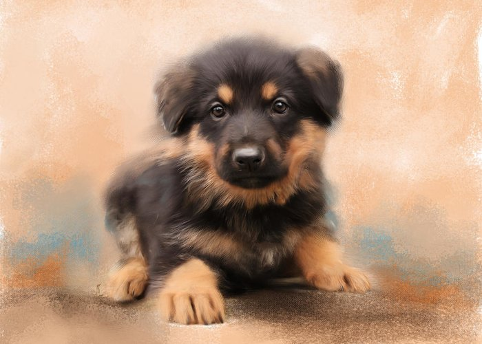 Animal Greeting Card featuring the painting German Shepherd Puppy Portrait by Jai Johnson