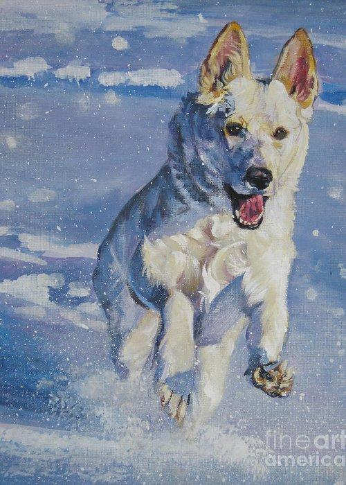 German Shepherd Greeting Card featuring the painting German Shepherd White In Snow by Lee Ann Shepard