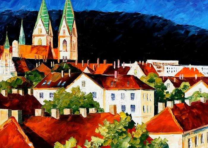 City Greeting Card featuring the painting Germany - Freiburg by Leonid Afremov