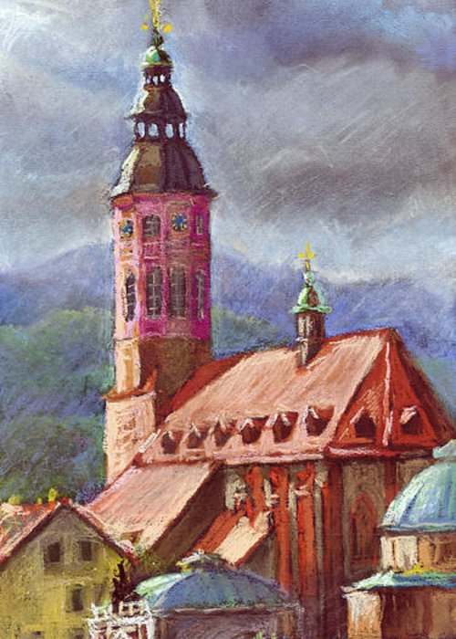 Pastel.germany Greeting Card featuring the painting Germany Baden-baden 05 by Yuriy Shevchuk