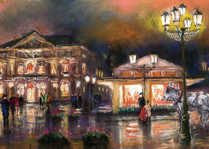 Pastel Greeting Card featuring the painting Germany Baden-baden 14 by Yuriy Shevchuk