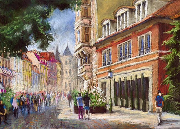 Pastel Greeting Card featuring the painting Germany Baden-baden Lange Str by Yuriy Shevchuk