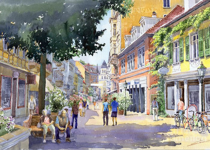 Architecture Greeting Card featuring the painting Germany Baden-baden Lange Strasse by Yuriy Shevchuk