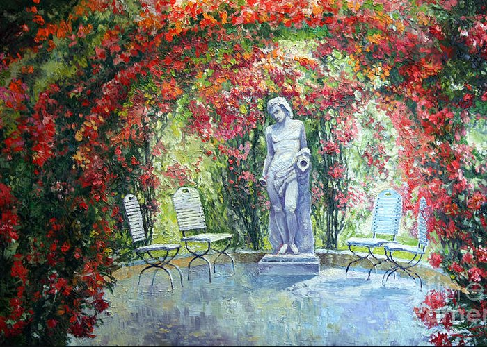 Oil Greeting Card featuring the painting Germany Baden-baden Rosengarten 02 by Yuriy Shevchuk