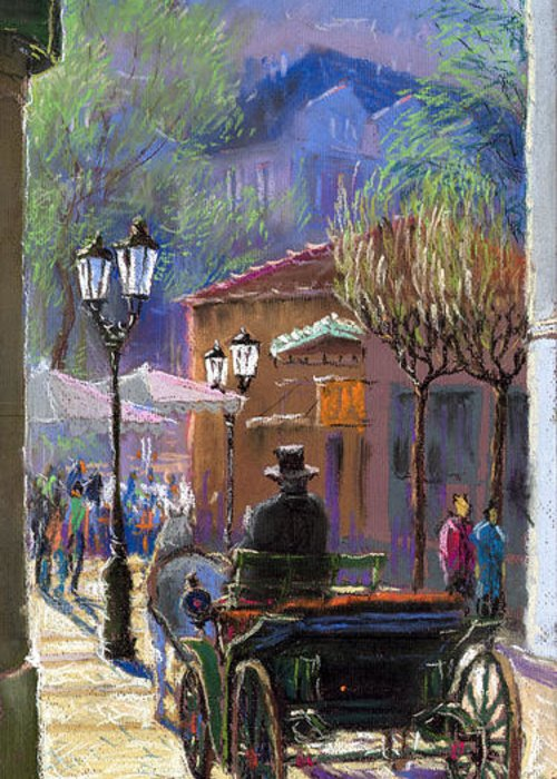 Pastel Greeting Card featuring the painting Germany Baden-baden Spring Ray by Yuriy Shevchuk