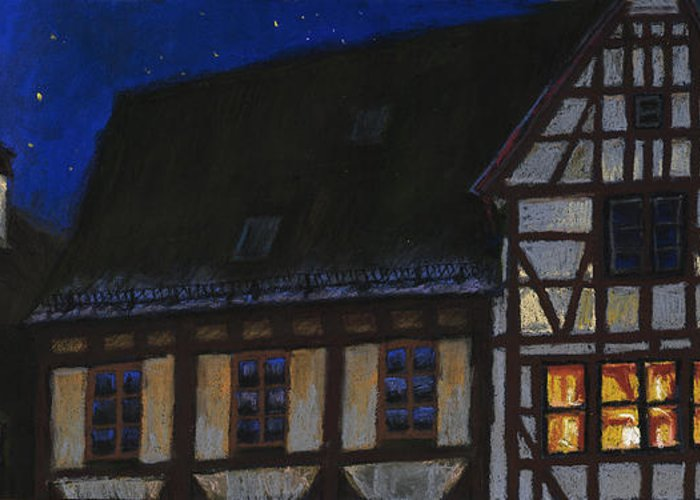 Pastel Greeting Card featuring the painting Germany Ulm Fischer Viertel Moonroofs by Yuriy Shevchuk