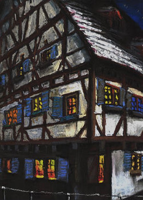 Pastel Greeting Card featuring the painting Germany Ulm Fischer Viertel Schwor-haus by Yuriy Shevchuk