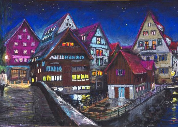 Pastel Greeting Card featuring the painting Germany Ulm Fischer Viertel by Yuriy Shevchuk