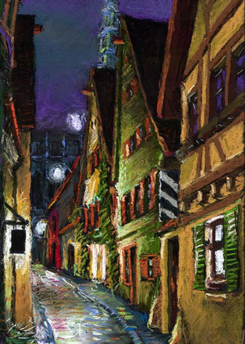 Pastel Greeting Card featuring the painting Germany Ulm Old Street Night Moon by Yuriy Shevchuk