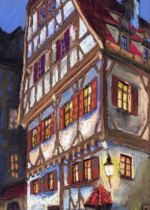 Pastel Greeting Card featuring the painting Germany Ulm Old Street by Yuriy Shevchuk