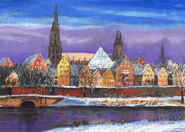 Pastel Greeting Card featuring the painting Germany Ulm Panorama Winter by Yuriy Shevchuk