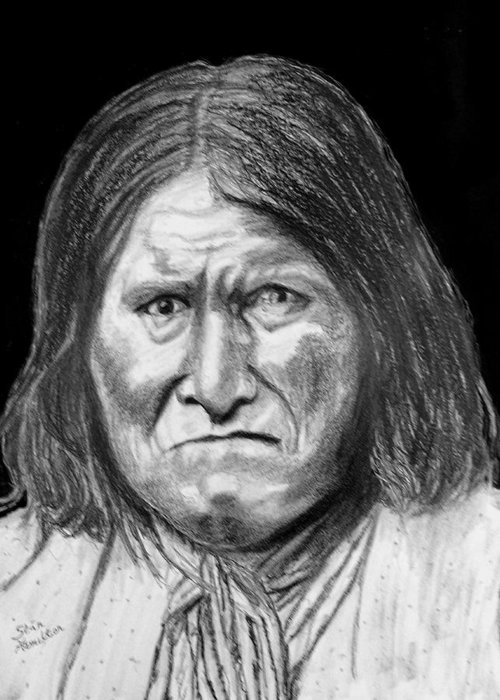 Indian Portrait Greeting Card featuring the drawing Geronamo by Stan Hamilton