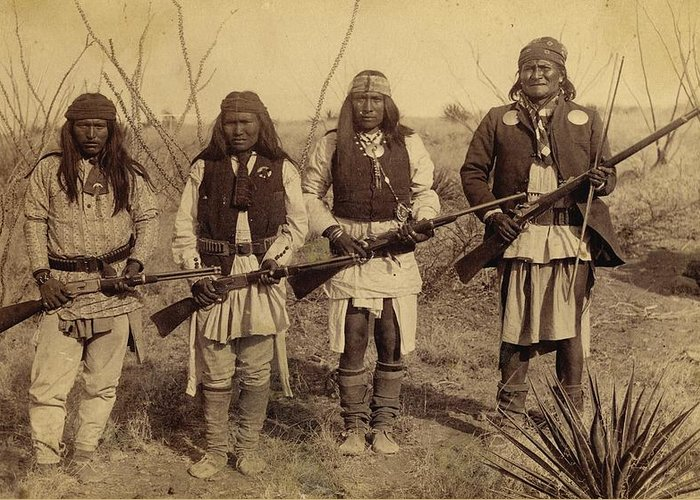 Geronimo apache indian native american with general cook peace native american indians greeting card featuring the photograph geronimo apache indian native american with general cook m4hsunfo