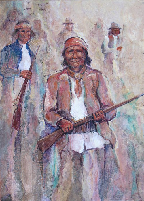Indian Figures Greeting Card featuring the painting Geronimo by Don Trout
