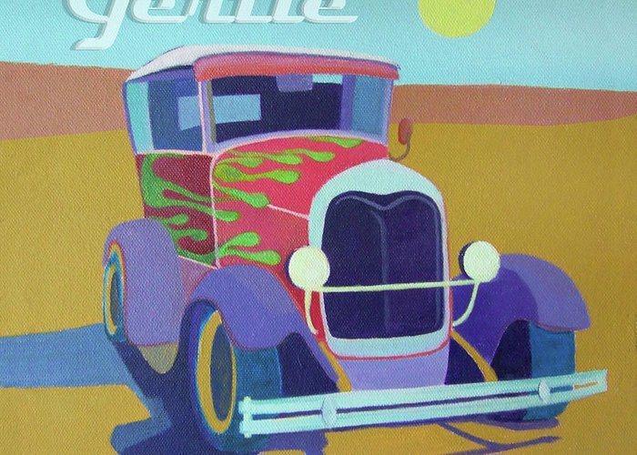 Ford Greeting Card featuring the digital art Gertie Model T by Evie Cook
