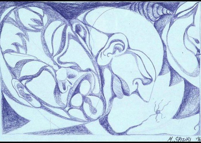 Greeting Card featuring the drawing Gestation by Michelle Spiziri