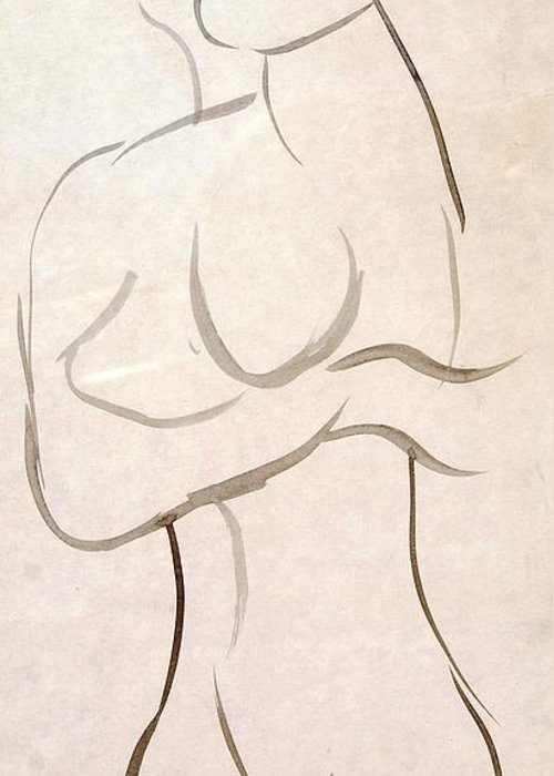 Sketch Greeting Card featuring the mixed media Gestural Nude Sketch by Angela Murray