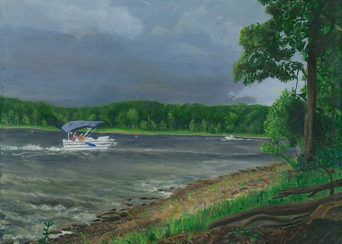 Storm Greeting Card featuring the painting Get Off The Water by Sean Koziel