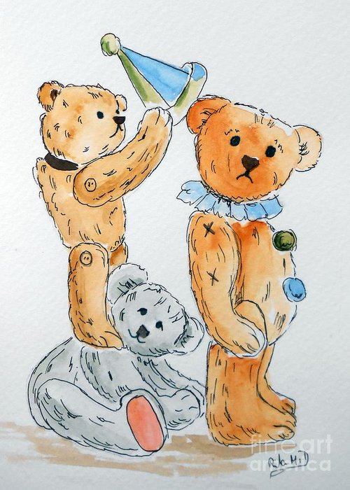 Teddy Greeting Card featuring the painting Get Ready Teddy by Rita Drolet