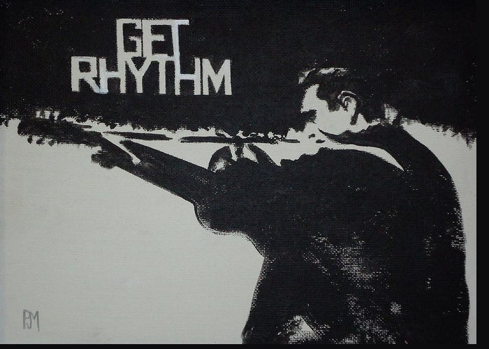 Johnny Cash Greeting Card featuring the painting Get Rhythm by Pete Maier