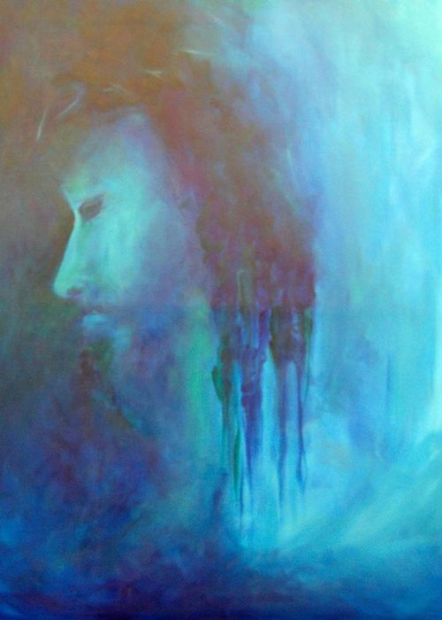 Abstract Greeting Card featuring the painting Gethsemane by DeLa Hayes Coward
