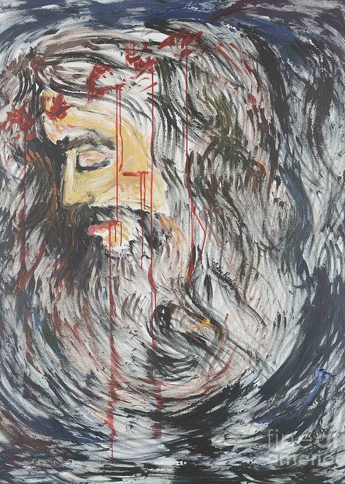 Jesus Greeting Card featuring the painting Gethsemane To Golgotha IIi by Nadine Rippelmeyer
