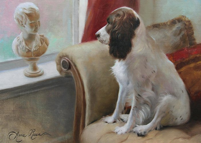 Dog Greeting Card featuring the painting Getting Acquainted by Anna Rose Bain