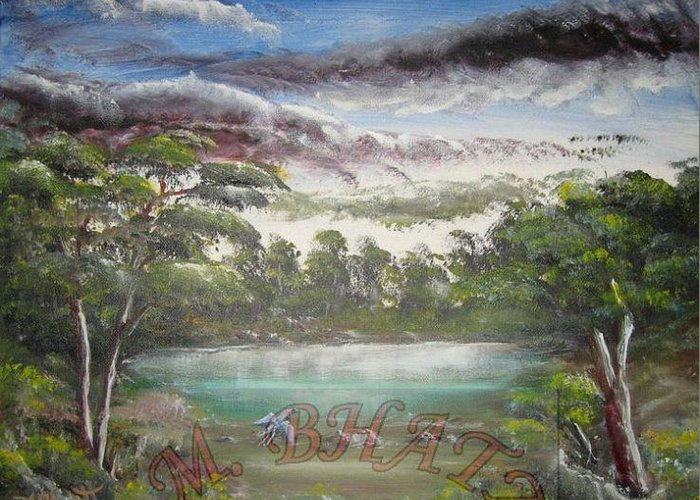 Nature Greeting Card featuring the painting Getting Cloudy by M Bhatt