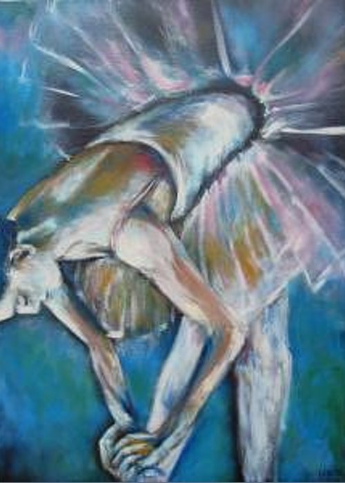 Ballerina Greeting Card featuring the painting Getting Ready by Ellen Lewis