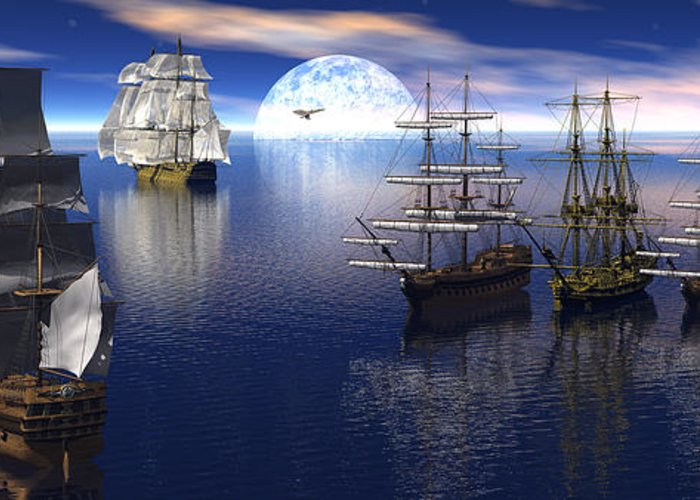 Bryce 3d Scifi Fantasy tall Ship Sailing Windjammer sailing Ship Sailing Greeting Card featuring the digital art Getting Underway by Claude McCoy