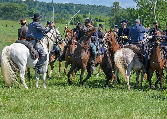 150th Greeting Card featuring the photograph Gettysburg Cavalry Battle 7970c by Cynthia Staley