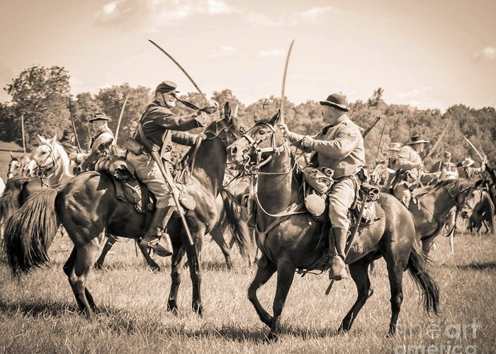 150th Greeting Card featuring the photograph Gettysburg Cavalry Battle 7978s by Cynthia Staley