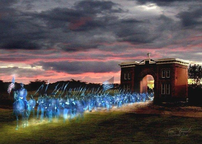 Union Soldiers Greeting Card featuring the digital art Gettysburg Evergreen by Tom Straub