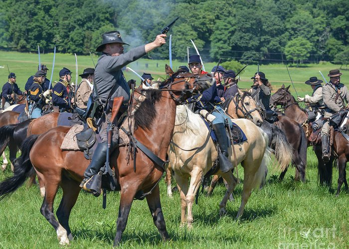 150th Anniversary Greeting Card featuring the photograph Gettysburg Union Cavalry 7920c by Cynthia Staley