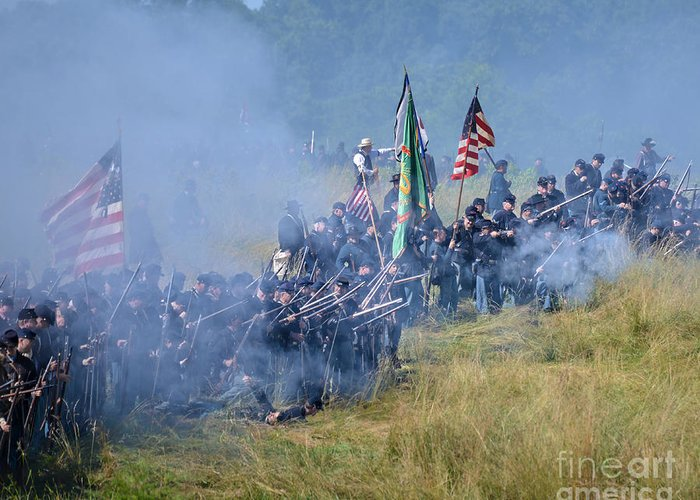 150th Greeting Card featuring the photograph Gettysburg Union Infantry 8947c by Cynthia Staley