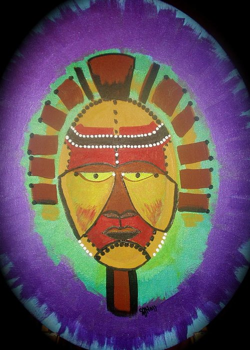 Mask Greeting Card featuring the painting Ghana Mask by Sheila J Hall