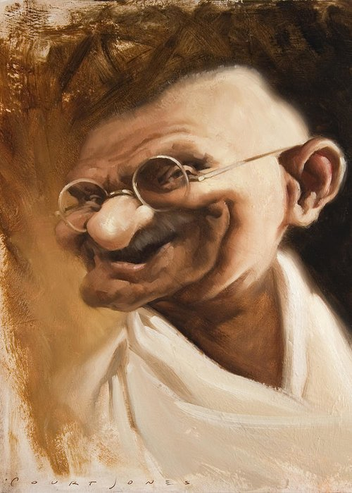 Mahatma Gandhi Greeting Card featuring the painting Ghandi by Court Jones