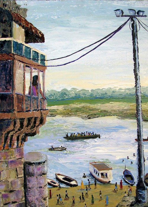 Ghats Greeting Card featuring the painting Ghats From Above by Art Nomad Sandra Hansen