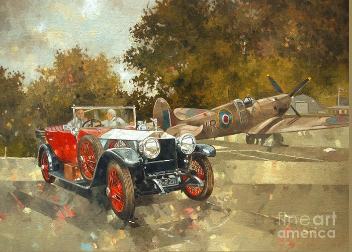 Rolls Royce; Car; Vehicle; Vintage; Automobile; Airplane; Aeroplane; Plane; Aircraft; Raf; Royal Air Force; Spitfire; Classic Car; Old Timer Greeting Card featuring the painting Ghost And Spitfire by Peter Miller