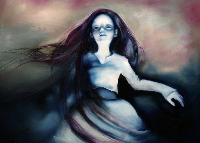 Doll Greeting Card featuring the painting Ghost by Barbara Agreste