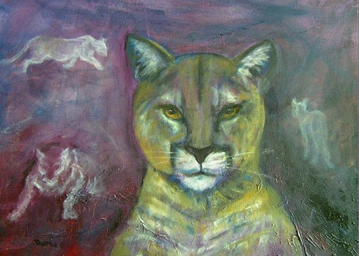 Wildlife Greeting Card featuring the painting Ghost Cat by Darla Joy Johnson