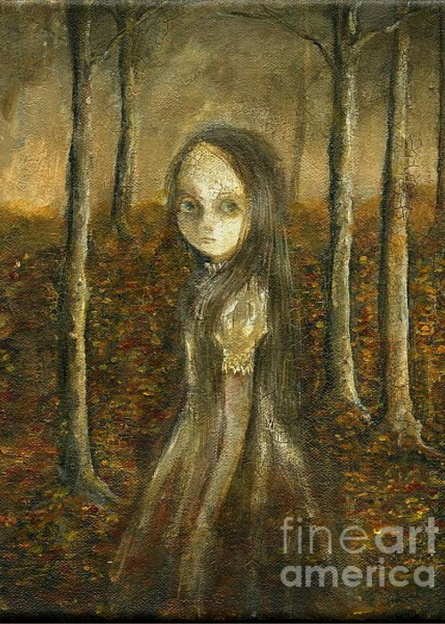 Ghost Painting Greeting Card featuring the painting Ghost In The Forrest by Mya Fitzpatrick