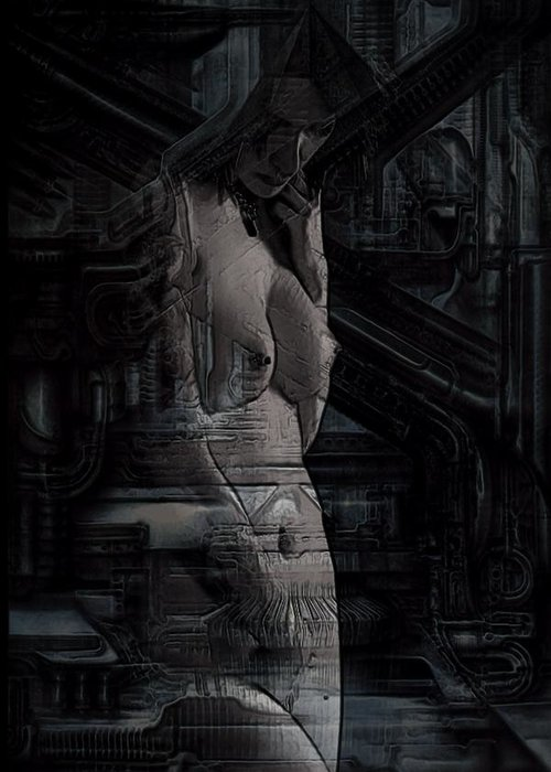 Woman Greeting Card featuring the digital art Ghost In The Machine by Jon Palm