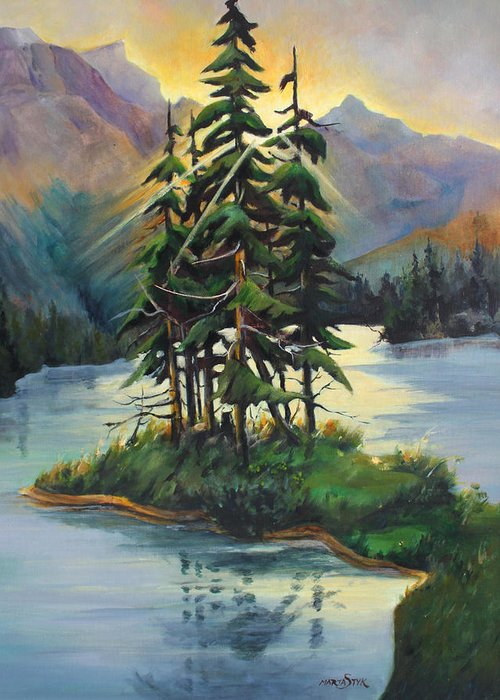 Landscape Greeting Card featuring the painting Ghost Island Near Jasper by Marta Styk