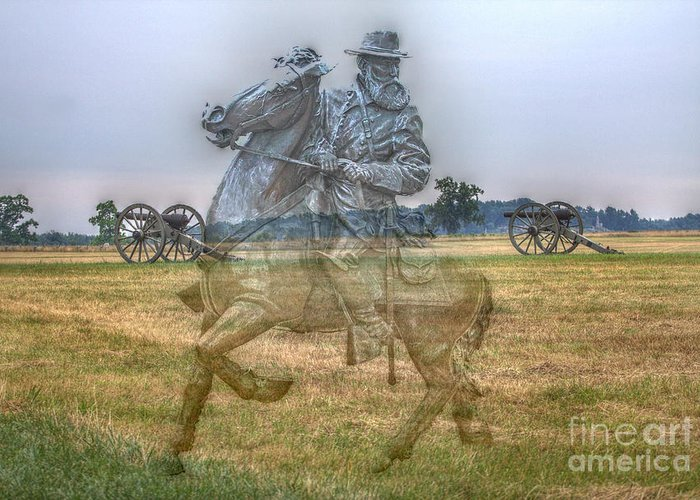 Ghost Of Gettysburg Greeting Card featuring the digital art Ghost Of Gettysburg by Randy Steele