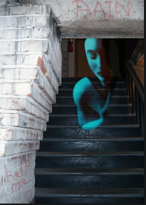 Angst Greeting Card featuring the photograph Ghost Of Pain - Self Portrait by Jaeda DeWalt