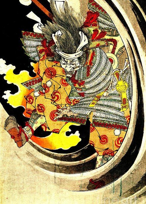Ghost Of Warrior Tomomori 1880 Greeting Card featuring the photograph Ghost Of Warrior Tomomori 1880 by Padre Art