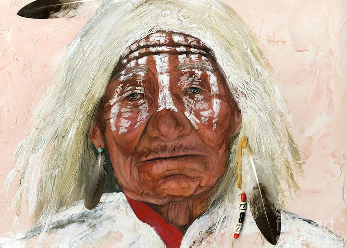 Southwest Art Greeting Card featuring the painting Ghost Shaman by J W Baker